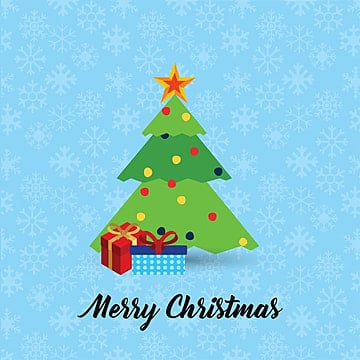 Christmas card with tree and pattern background