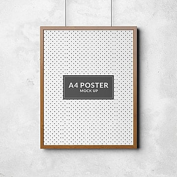 Hanging poster frame psd mock up