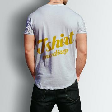 Male tshirt back psd mock up