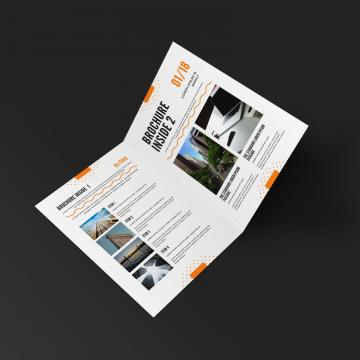 Half fold brochure inside up PSD mockup