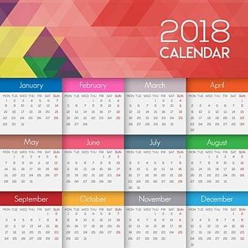 Diseño de calendario 2018, Mes, Año, Calendario PNG y Vector