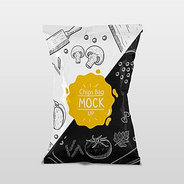 Bag of chips packaging psd mock up