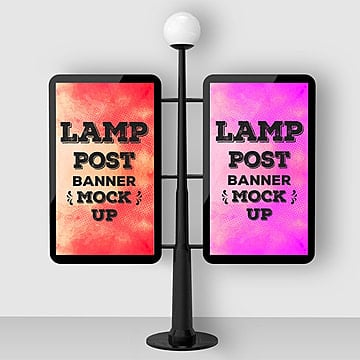 Street lamp post banner psd mock up