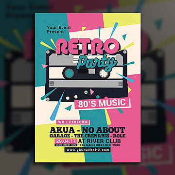 80s retro music party cassette Template