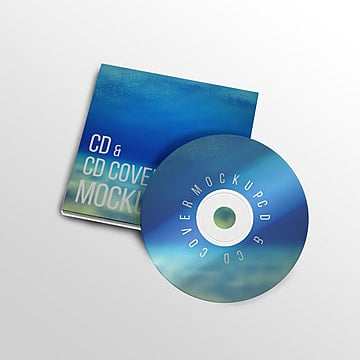 Cd and cd cover labeling psd mcok up
