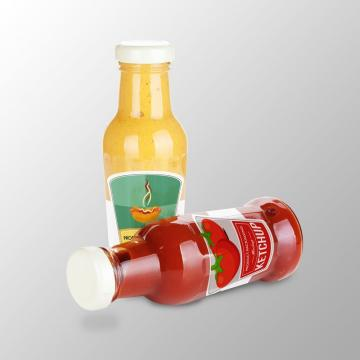 Botellas de ketchup y mostaza perspectiva Empaque PSD mock up