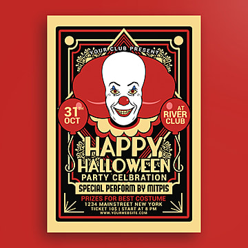 Halloween Party Clown Festival Poster, Clown, Club, Costume PNG and PSD