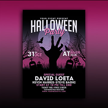 Halloween Party Poster, Black Friday, Clean, Event Flyer PNG and PSD
