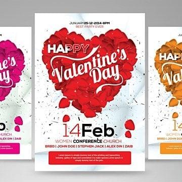 l'affiche de la fête de la saint - valentin, 14 Fév, Bash, CartePNG et PSD