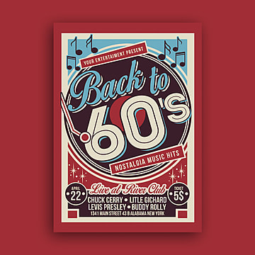 Retro poster templates 20 design templates for free download vintage music event poster template maxwellsz
