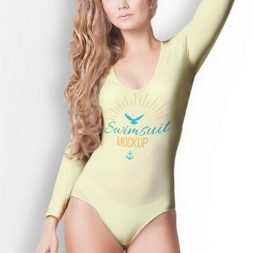 Female swimsuit front psd mock up