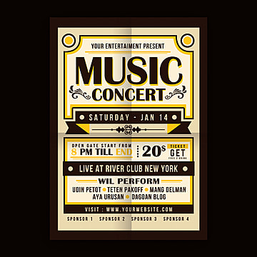 Vintage Music Concert Typography Poster 60s Alternative Bar Png And Psd