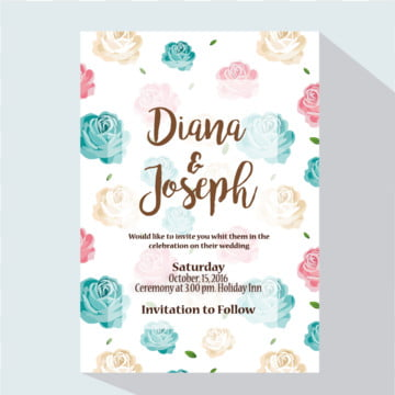 Wedding Invitation with Flowers Cute