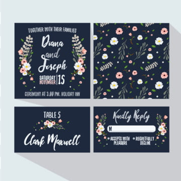 Fresh floral wedding invitation Template