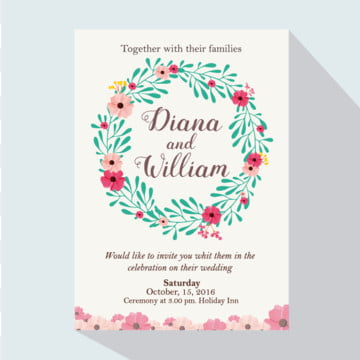 Wedding Invitation Green leaves with flowers, Wedding, Invitation, Floral PNG and Vector