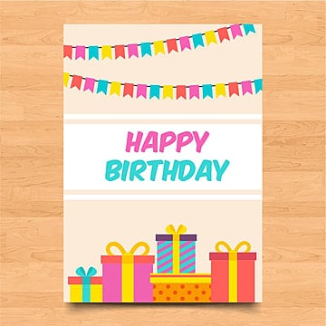 Template Of Colorful Birthday Card