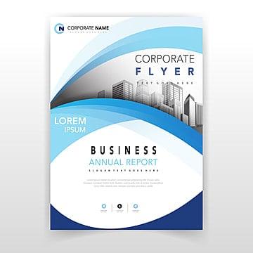 синий волнистый дизайн корпоративного флаера Шаблон