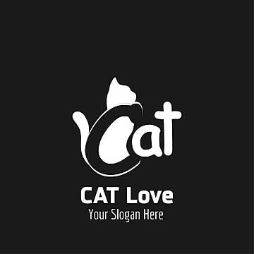 Cat love logo design