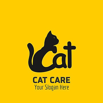 Cat care logo with yellow background