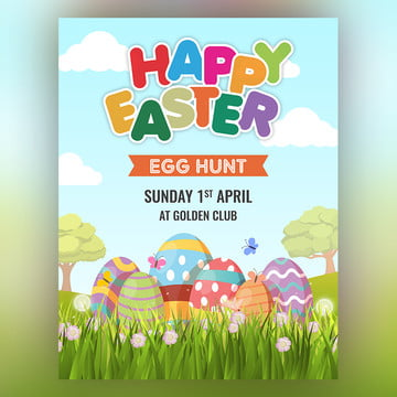 Happy Easter Egg Hunt Colorful Easter Poster Template
