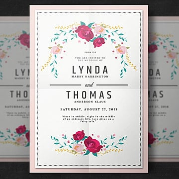 wedding invitation with flower wedding Template