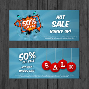 Creative Sale Banners in Comic Style with Wooden Background