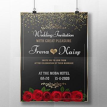 Preto - convite de Casamento, Casamento, Casamento Cartão De Convite De Casamento Modelos, PretasPNG e PSD