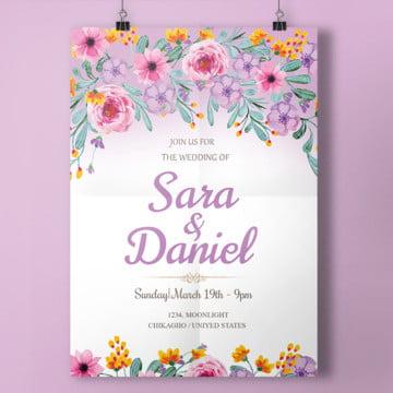 Purple Floral do convite do Casamento, Casamento, Convite De Casamento, DovePNG e PSD
