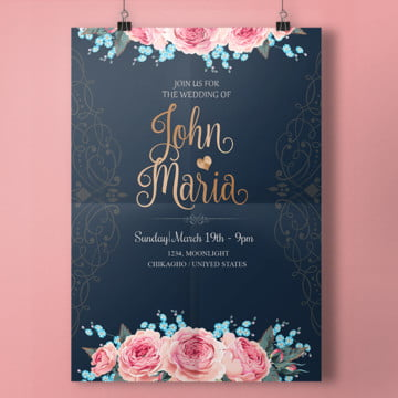 Royal Wedding Invitation With Script Template PNG And PSD