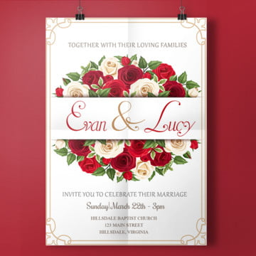 red roses wedding invitation wedding menu Template