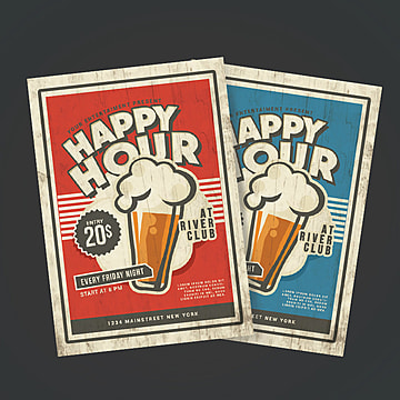 Happy Hour Vintage Flyer Bar Night PNG And PSD