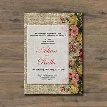 Rustic Wedding Invitation Card PNG And PSD