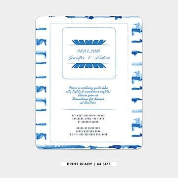 La luz azul de la acuarela vector tarjeta de invitación