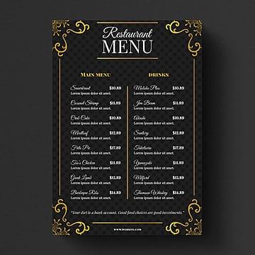 Restaurant Menu Template Print PNG And PSD