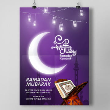 ramadan purple poster with mosque and helel Template
