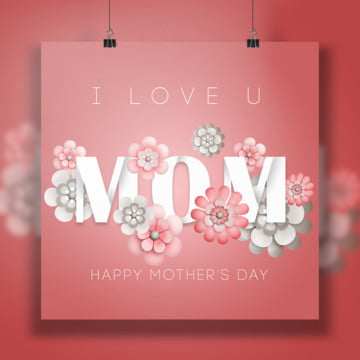 Mom with pink flowers card, Mothersday, Mother Day Elements, Mothers Day Design PNG and PSD
