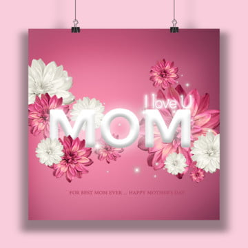 I u mom card, Mothersday, Mother Day Elements, Mother Design PNG and PSD