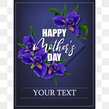 mothers day poster with iris flowers Template