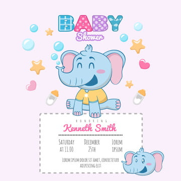 Elephant  Shower Theme Invitation Template Template