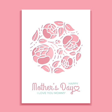 Mothers day greeting card with peonies Template