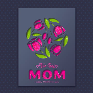 Mothers day greeting card with tulips on blue background Template