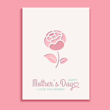 mothers day greeting card with stylized peony Template