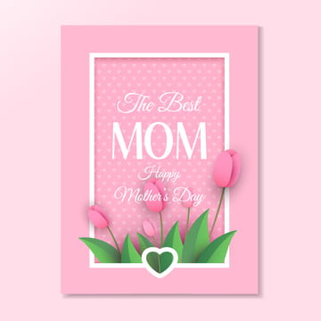 mothers day greeting card with tulips on pink background Template