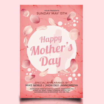 Pink Mothers Day Flyer, Beauty, Cocktail, Deluxe PNG and PSD