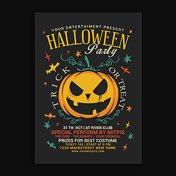 Halloween Party Flyer, Celebrations, Club, Costume PNG and PSD