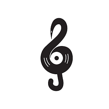 g clef showing a vinnyl  amp; swan head visual abstract music notation logo Template