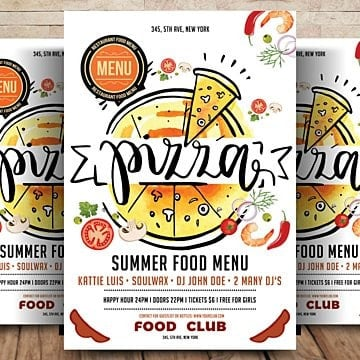 hot pizza flyer  poster Template