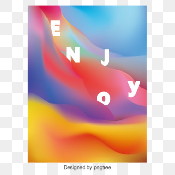 Memphis poster vector design with fluid enjoy, Liquid Gradient, Poster Design, Poster PNG and Vector