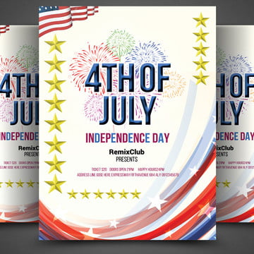 4th of july american flag american independence day usa independence day flyer Template