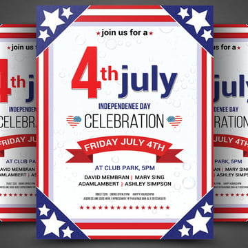4th of July American flag USA independence day poster, 4th Of July, American Flag, Usa Independence Day PNG and PSD